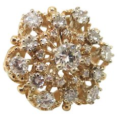 Vintage 2.50 Carat Diamond Cluster Ring in 14K Yellow Gold