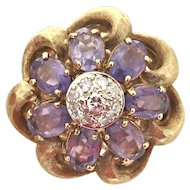 Retro Amethyst Cluster Ring in 18K Gold