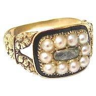 Georgian Memorial Ring With Pearls & Enamel