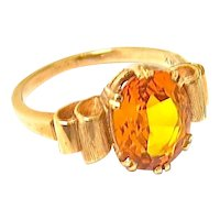 Art Deco Citrene Ring in 14 K Gold