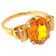 Art Deco Citrene Ring in 14 K Gold