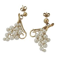 "Art Nouveau ""Grape Cluster"" Pearl Earrings"