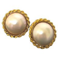 Cultured Pearl Earrings--Mabe Pearl Design