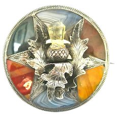 Stunning Agate & Sterling Victorian Scottish Brooch