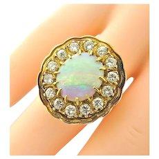 Art Deco Opal & Diamond Cluster Ring