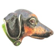 A Handsome Hound--Sterling & Enamel Brooch