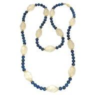 Vintage Lapis, Carved Crystal & gold Necklace