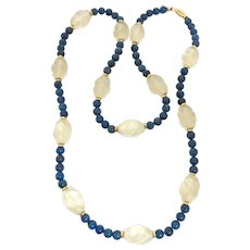 Vintage Lapis, Carved Crystal & gold Necklace