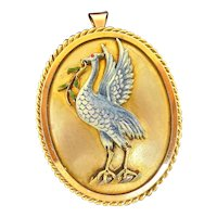 "Whimsical Late Victorian Enamel ""Bird"" Pendant/Brooch"
