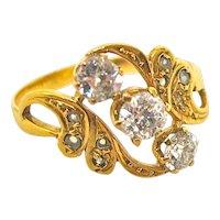 Exciting Art Nouveau Three Diamond Ring