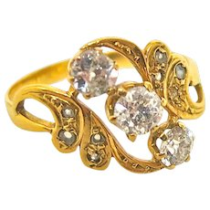 Exciting Art Nouveau Three Diamond Ring