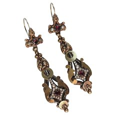 Stunning Victorian Gold, Garnet & Pearls Day-Nite Earrings
