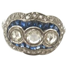 Triple Treat--Deco Diamond & Sapphire Ring