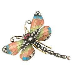 Striking Art Nouveau Plique A Joure Insect Brooch