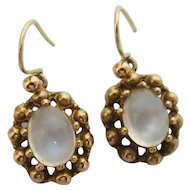 Shimmering Vintage Moonstone Earrings in 9K Gold