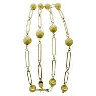 Striking 18K Yellow Gold Bead & Chain Necklace