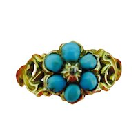 Victorian Turquoise Cluster Ring in 15K Gold