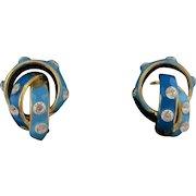 Stunning Small Art Nouveau 18K Enamel & Diamond Earrings