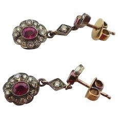 Delightful Edwardian Dangle Diamond & Ruby Earrings
