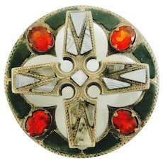 Victorian Scottish Brooch--Silver & Agates