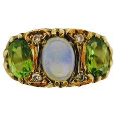 Standout Victorian Combination--Peridot & Opal Ring