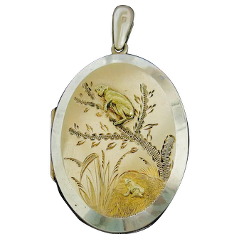 Victorian Sterling Locket With Japonaise Artistry