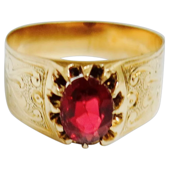 Victorian Treasure--Natural Ruby in 14K Gold Mounting