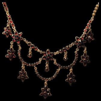 Glowing Victorian Garnet Necklace