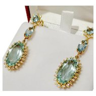 Divine Vintage Aquamarine & Diamond Earrings