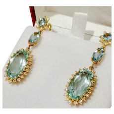 Divine Vintage Aquamarine & Diamond Earrings