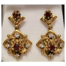Immaculate Victorian 14K Gold Dangle Earrings