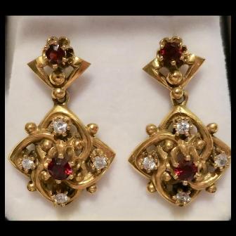 Immaculate Victorian 14K Gold Dangle Earrings