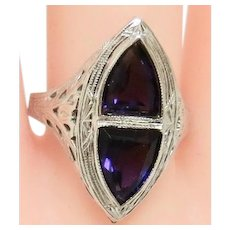 Deco Design in White Gold & Amethyst