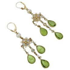 Stunning Peridot, Moonstone & Pearl Earrings