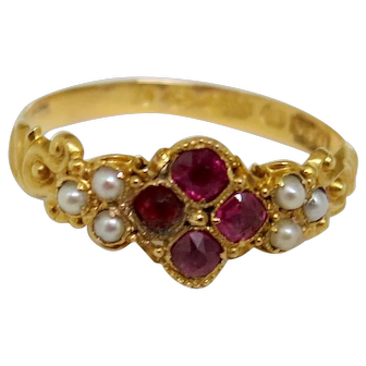 Delicate Victorian Ruby & Pearl Ring