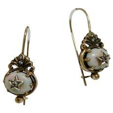Victorian Gold, Fire Opal & Diamond Earrings