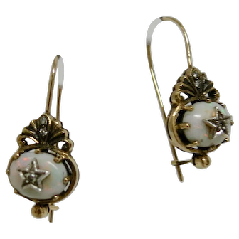 Victorian Gold, Fire Opal & Diamond Earrings