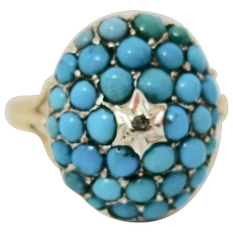 Outstanding Victorian Turquoise & Diamond Ring