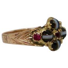Mesmerizing Georgian Banded Agate & Ruby Ring