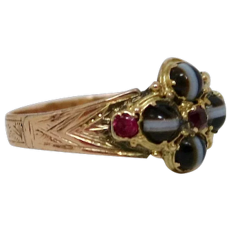 Mesmerizing Georgian Banded Agate & Ruby Ring