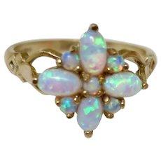 Vintage Fire Opal Cluster Ring