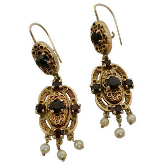 Antique Garnet & Pearl Dangle Earrings