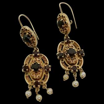 Antique Garnet & Pearl Dangle Earrings