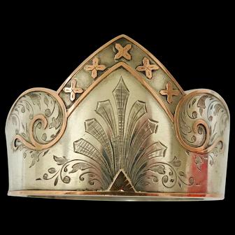 Unique Victorian Sterling & Rose Gold Bangle
