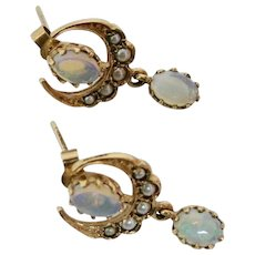 Delightful Victorian Opal and Pearl Earrings