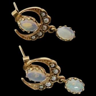 Delightful Victorian Opal and Pearl Earrings