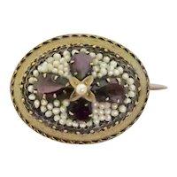 Striking Victorian Garnet & Seed Pearl Brooch
