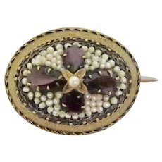 Striking Victorian Garnet & Seed Pearl Brooch