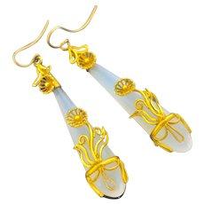 Victorian Chalcedony Earrings in Pinchbeck Mounts