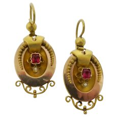 Victorian Rose & Yellow Gold Earrings